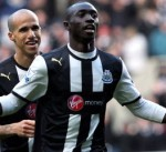Gabriel Obertan and Papa Cisse celebrate against Chelsea