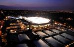 The stunning view of Centre Court with the roof at night.