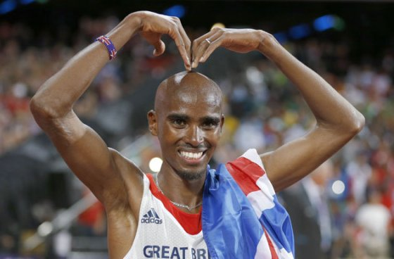 Mo Farah striking the iconic 'Mobot' pose.Source: uk.eurosport.yahoo.com